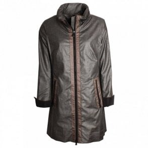 Central Zip Roll Collar Raincoat