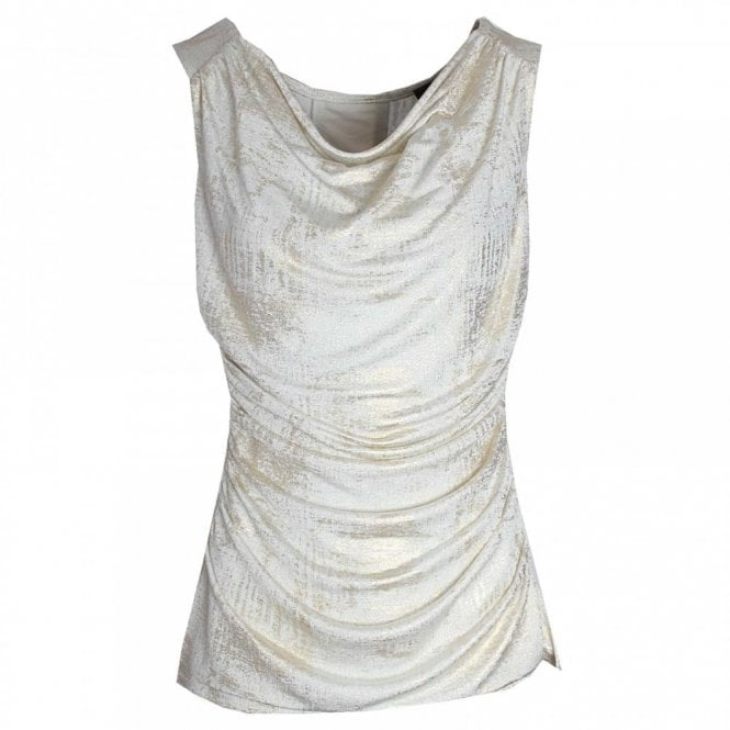 Frank Lyman Chain Panel Draping Sleevless Top