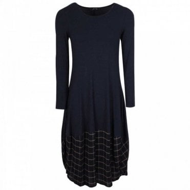 Latte Check Balloon Hem Navy Blue Jersey Dress
