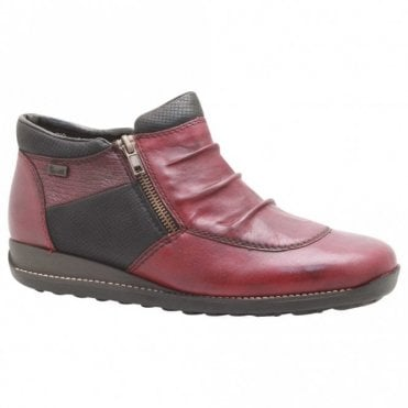 Rieker Cherry Red Leather Zip Up Ankle Boots