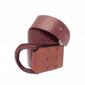 Chestnut Brown Mock Croc D Ring Belt