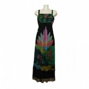 Chiffon Leaf Prt Dress