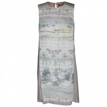 Chiffon Panal Print Sleeveless Dress