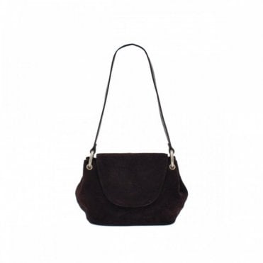 Choc Leather Suede Shoulder Bag