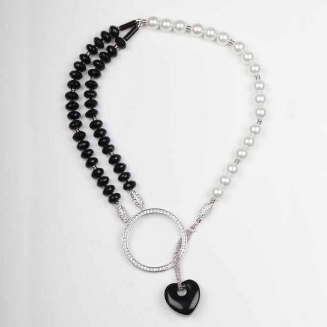 Nour London Choker Style Onyx Heart Necklace
