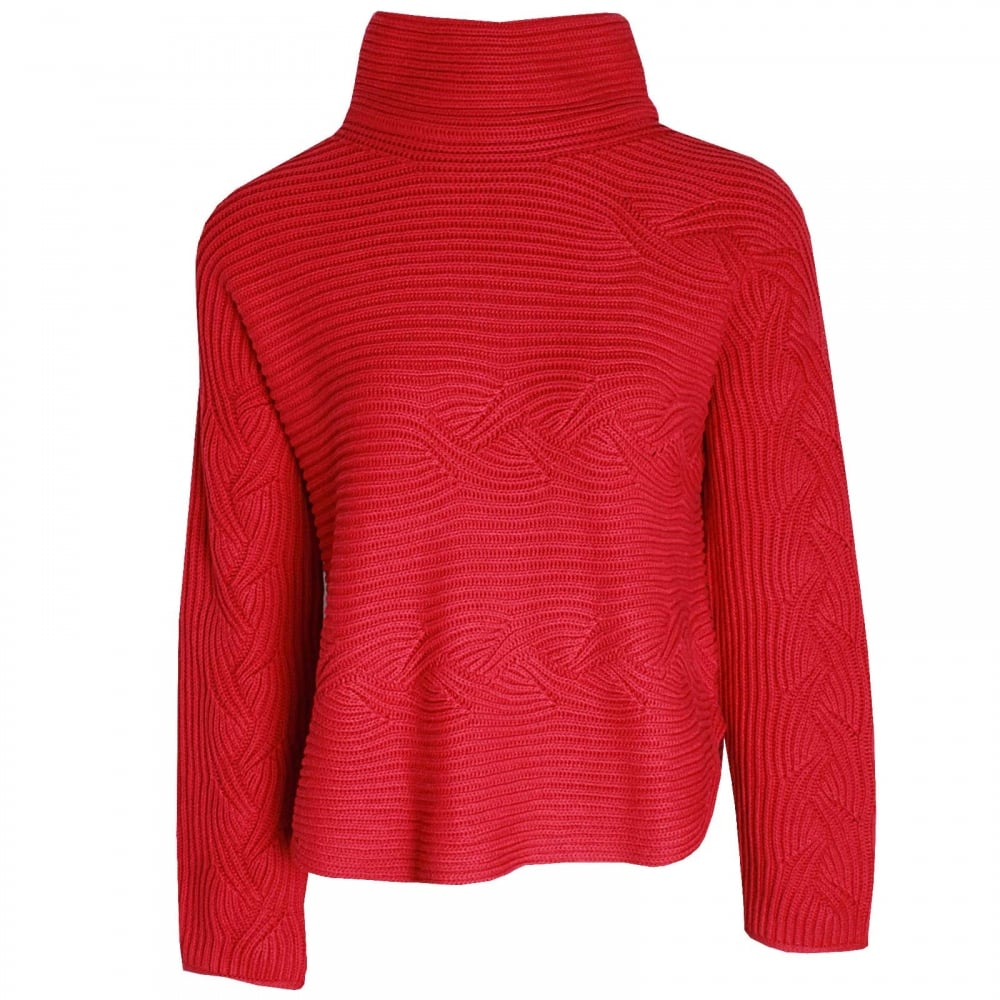 34ef812369e10d Chunky Knit Polo Jumper By Oui At Walk In Style