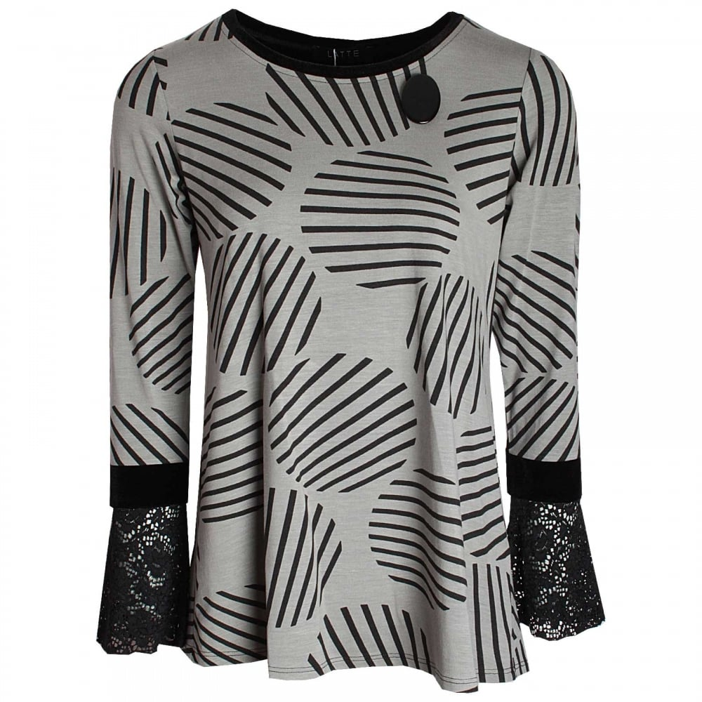 Circle Print Long Sleeve Jersey Top By Latte At Walk In Style