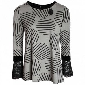 Circle Print Long Sleeve Jersey Top