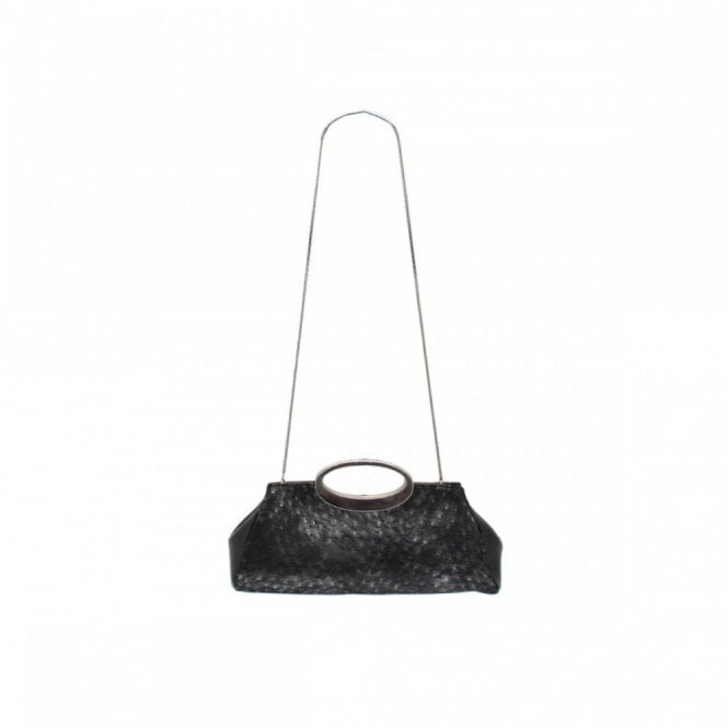 Carmen Poveda Clutch In Black Feather Finish S/hnd