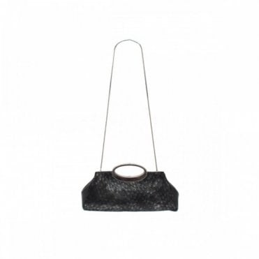 Clutch In Black Feather Finish S/hnd