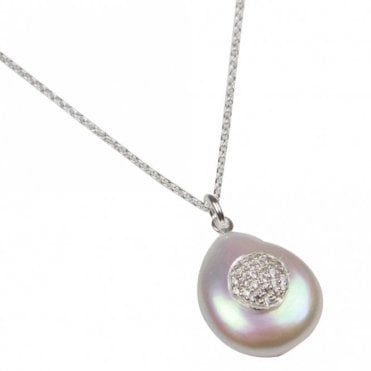 Nour London Coin Pearl Round Crystal Pave Necklace