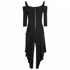 Frank Lyman Cold Shoulder 3/4 Sleeve Harem Jumpsuit