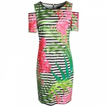 Cold Shoulder Tropical Print Dress