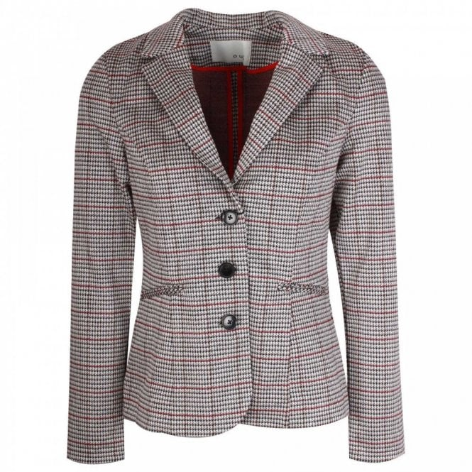 Oui Cotton Lined Fitted Checked Blazer