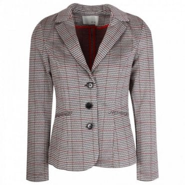 Cotton Lined Fitted Checked Blazer