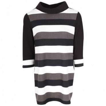 Cowl Neck 3/4 Sleeve Grey Stripped Tunic