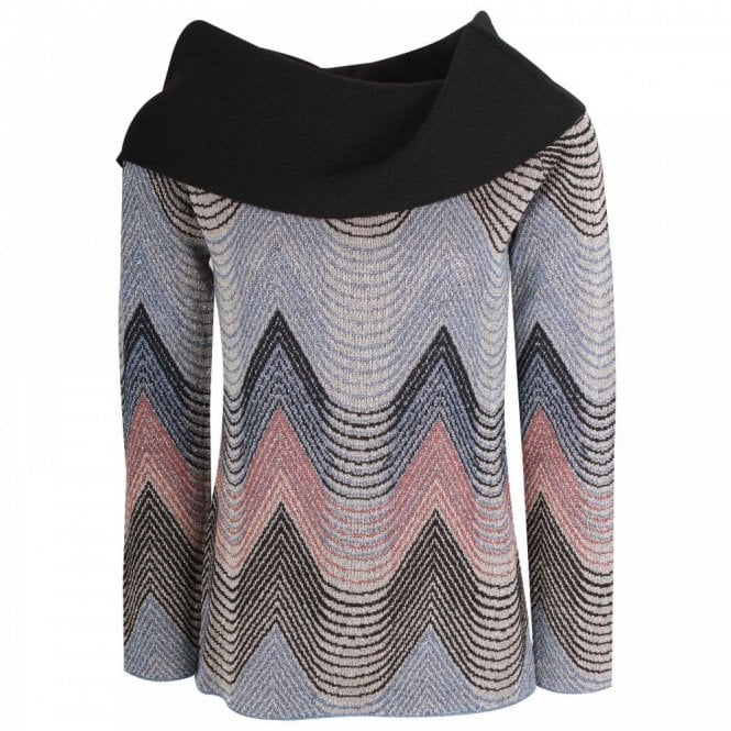 Latte Cowl Neck Chevron Print Knitted Jumper