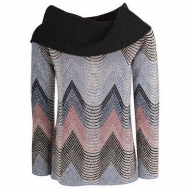 Cowl Neck Chevron Print Knitted Jumper