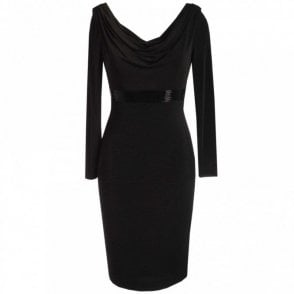 Cowl Neck Jersey Dress With Beads