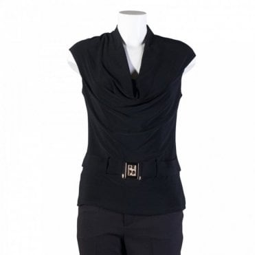 Cowl Neck Top With Buckle Belt Detail