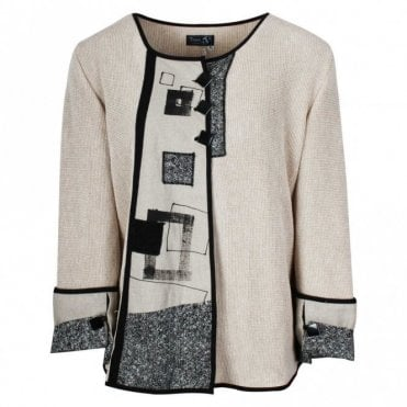 Tivoli Cream Knitted Abstract Cardigan