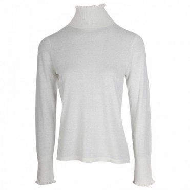 Cream Knitted Polo Neck Jumper