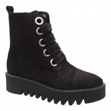 Alpe Creeper Lace Up Black Suede Ankle Boot