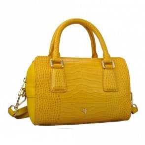 Croc Effect Bowler Handbag With Strap