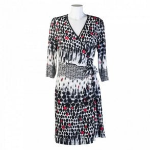 Cross Over Spot Print Jersey Dress