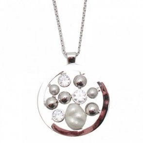 Crystal & Pearl Effect Pendant Necklace