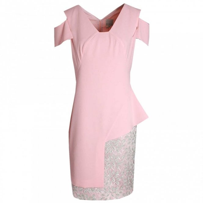 Paola Collection Cut Out Sleeve Lace Panel Shift Dress