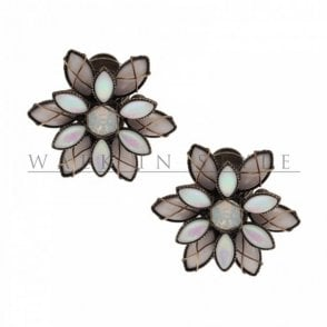 Dahlia Flower Design Pearlescent Earring