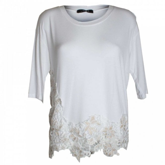 Latte Daisy Lace Detail 3/4 Sleeve Top