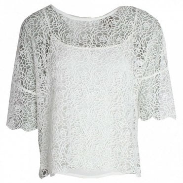 Delicate Open Knit 3/4 Sleeve Top