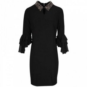Detachable Beaded Collar Dress