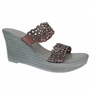 Diamante 2 Strap Across Wedge