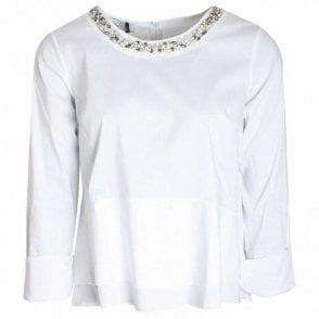 Diamante Collar Fitted Long Sleeve Top
