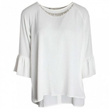 Diamante Detail 3/4 Sleeve Blouse