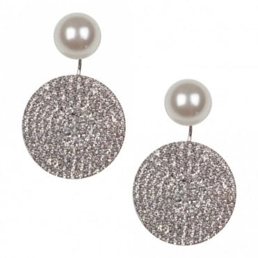 Nour London Diamante Drop Disc & Pearl Earrings