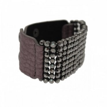 Nour London Diamante Panel Wide Strap Bracelet