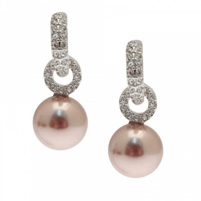 Nour London Diamante & Pearl Drop Earrings