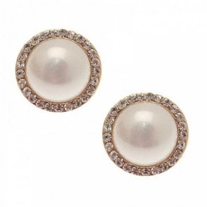 Diamante & Pearl Stud Earrings