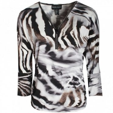 Frank Lyman Diamante Zip Long Sleeve Printed Top