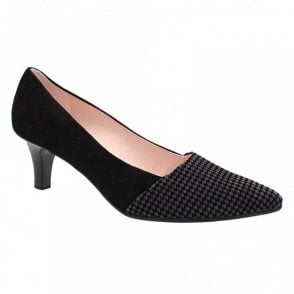 Dog Tooth Design Low Heel Court Shoe