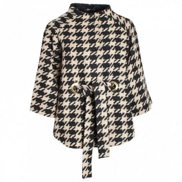 Dogtooth Check Cape Style Jacket