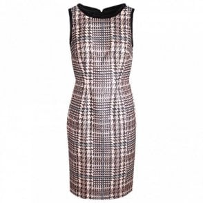 Dogtooth Pattern Sleeveless Shift Dress