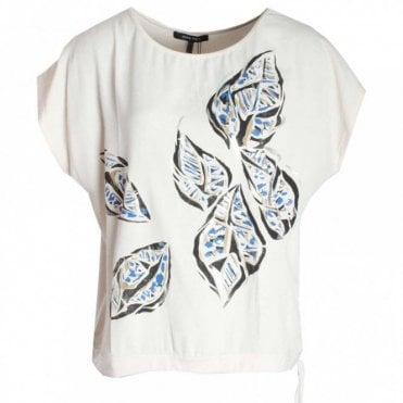 Dolman Capped Sleeve Leaf Print Top