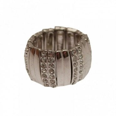 Elasticated Band Diamante Ring