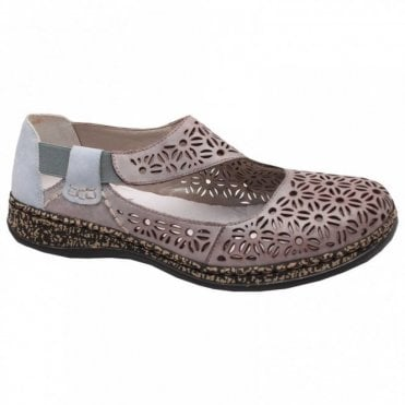 Elasticated Strap Laser Cut Slip On Shoe