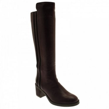 Elasticated Stripe Long Leather Boot